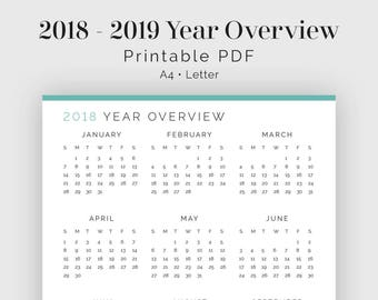 2018, 2019 Year Overview - Printable PDF - Time Tracker, Time Management - Business Planner - Instant Download