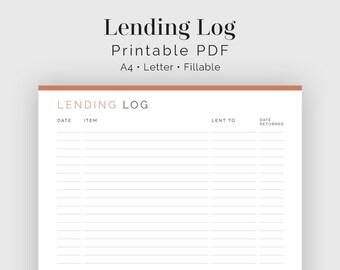 Lending Log - Fillable - Printable PDF - Household Binder - Instant Download