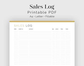 Sales Log - Fillable - Printable PDF - Business Planner - Finance Planner - Instant Download