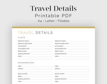 Travel Details - Fillable - Travel Planner, Vacation Planner - Printable Organizational PDF - 3 colours - Instant Download
