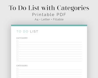 To Do List with Categories - Fillable - Printable PDF - Task Management, Productivity Planner - Business Planner - Instant Download