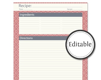 Recipe Card, Full Page - Fillable -  Instant download - Printable PDF