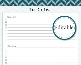to do list with categories fillable productivity printable printable pdf instant download