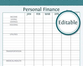 expense log fillable instant download finance printable etsy