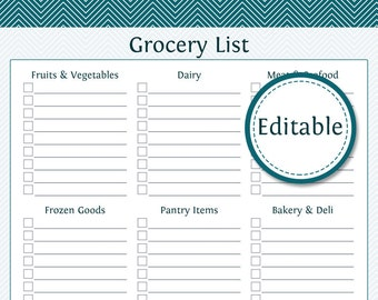 grocery shopping list with categories fillable printable pdf instant download