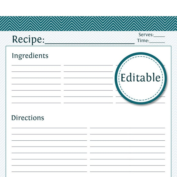 recipe card full page fillable printable pdf instant etsy