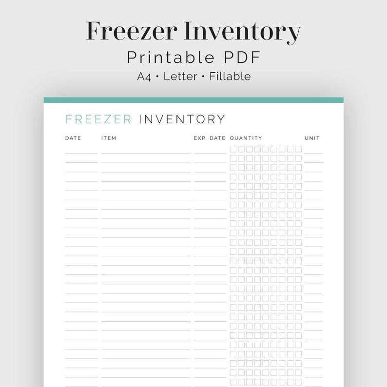 photograph regarding Freezer Inventory Printable known as Freezer Stock - Fillable - Printable PDF - Relatives Control, Supper Planner - Immediate Obtain