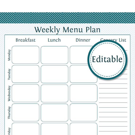 weekly menu planner with grocery list fillable printable etsy