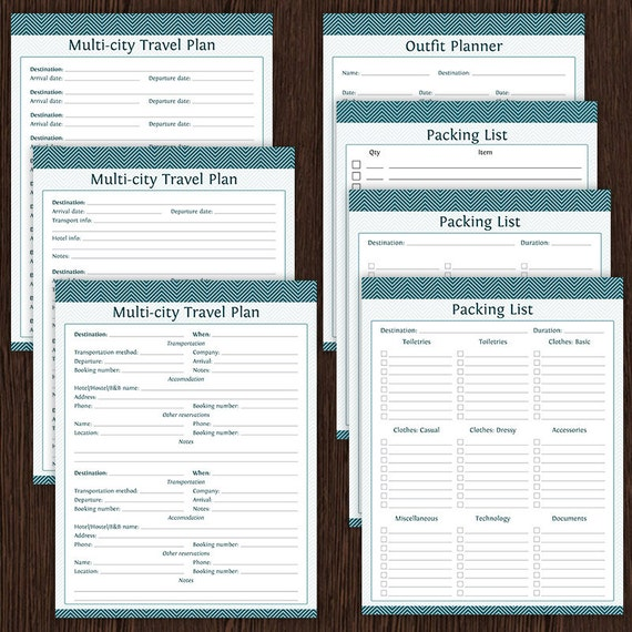 travel planner kit fillable instant download printable etsy