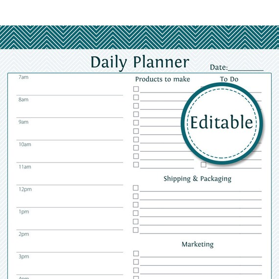 daily business planner fillable business planner etsy