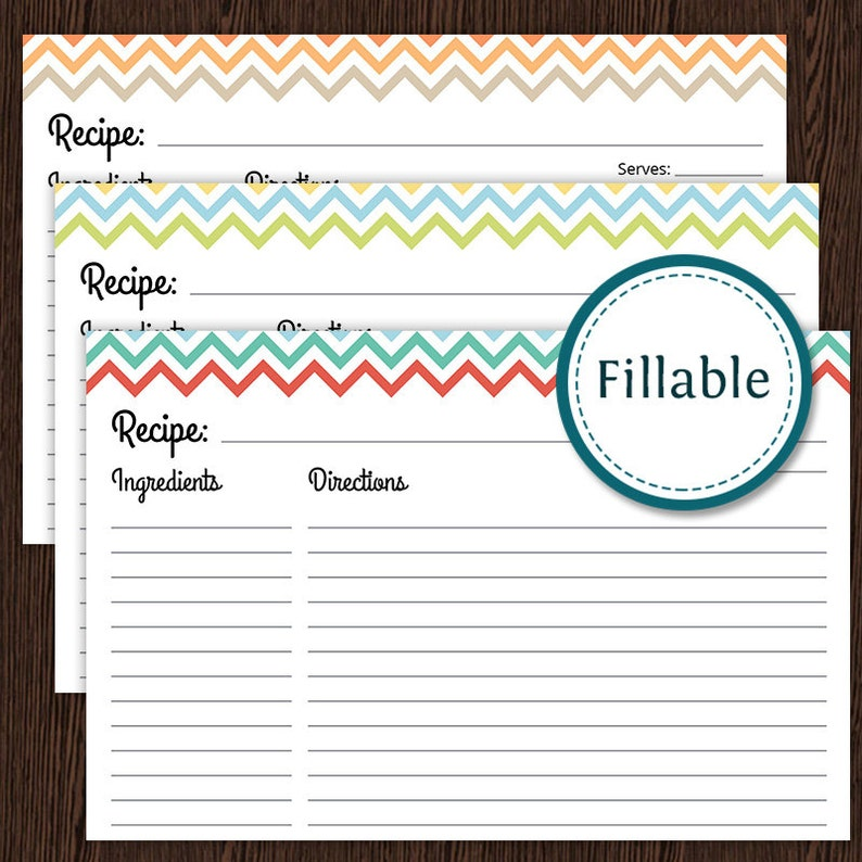 Printable PDF Colourful Chevron Recipe Card 4x6 recipe card Fillable Instant Download Household Binder