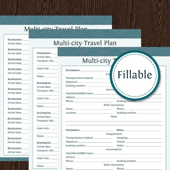 travel planner multi city travel plan fillable instant etsy
