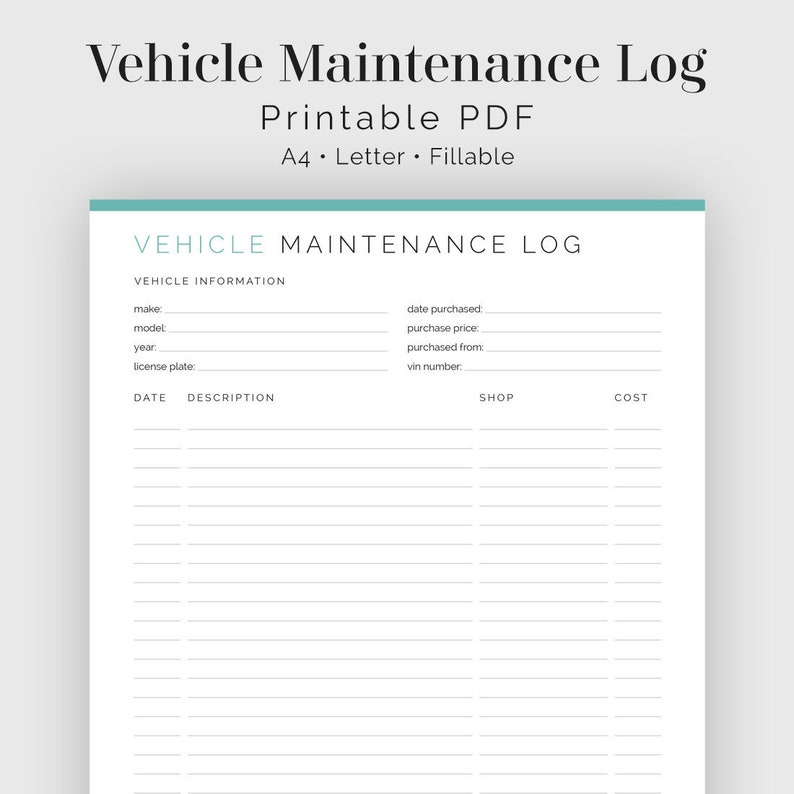 image relating to Printable Maintenance Log titled Auto Repair service Log, Car or truck Restore - Fillable - Printable PDF - Spouse and children Control - Instantaneous Obtain