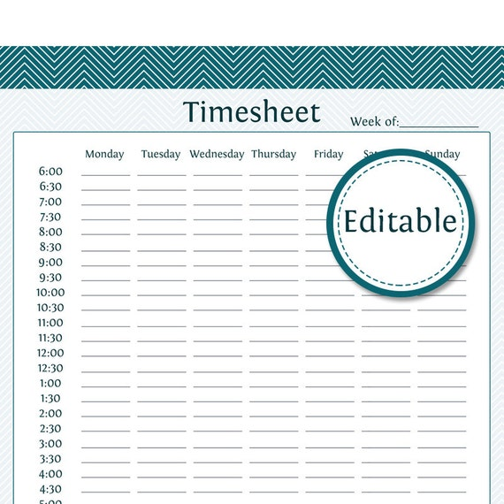 business timesheet fillable business planner printable etsy