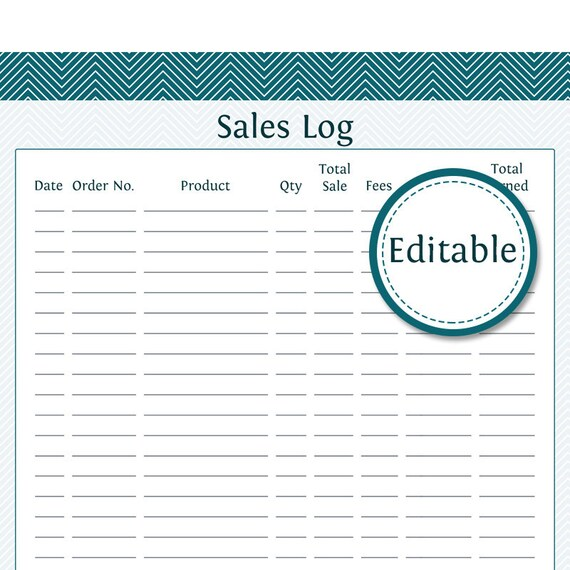 sales log fillable business planner printable etsy