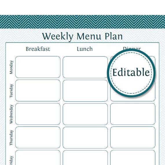 Weekly Menu Planner Fillable Printable PDF Instant