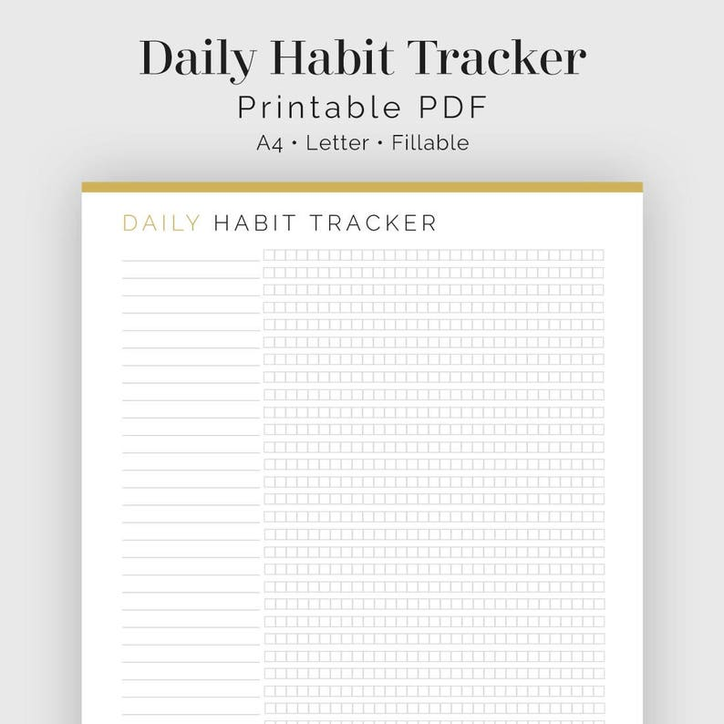 photograph regarding Daily Habit Tracker Printable called Every day Behavior Tracker - Fillable - Printable PDF - Journaling, Clean 12 months Option, Reason Tracker - Property Manage - Fast Obtain