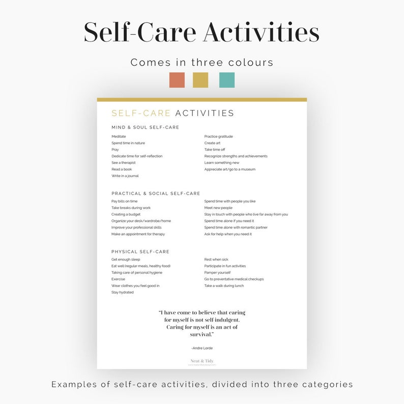 Self-Care Routines Instant Download Fillable Mental Health Printable Wellness Journal Printable PDF