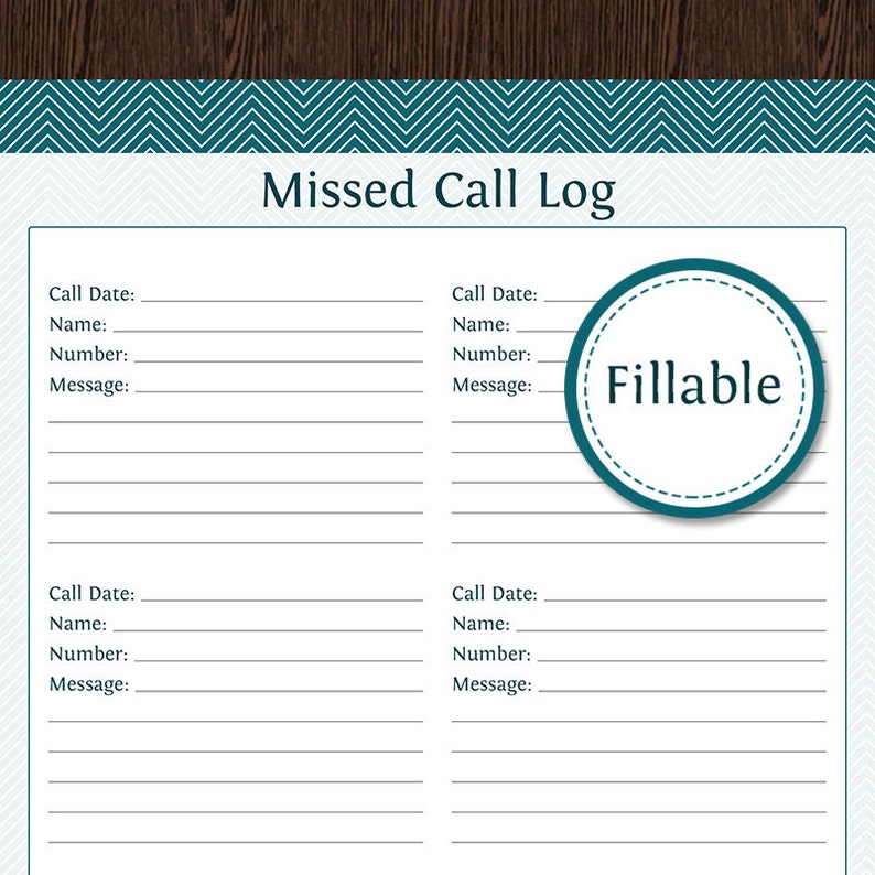 picture relating to Printable Call Log called Overlooked Contact Log - Fillable PDF Printable - House Organizer - Printable PDF - Immediate Down load
