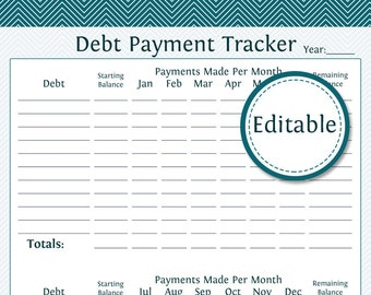 Debt Payment Tracker - Fillable - Instant Download - Finance Printable PDF