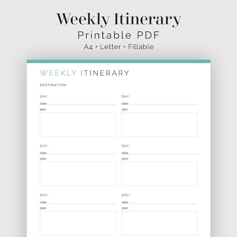 photo about Weekly Planner Sheet referred to as Drive Weekly Planner - Fillable - Drive Planner, Family vacation Planner - Printable Organizational PDF - 3 colors - Instantaneous Down load