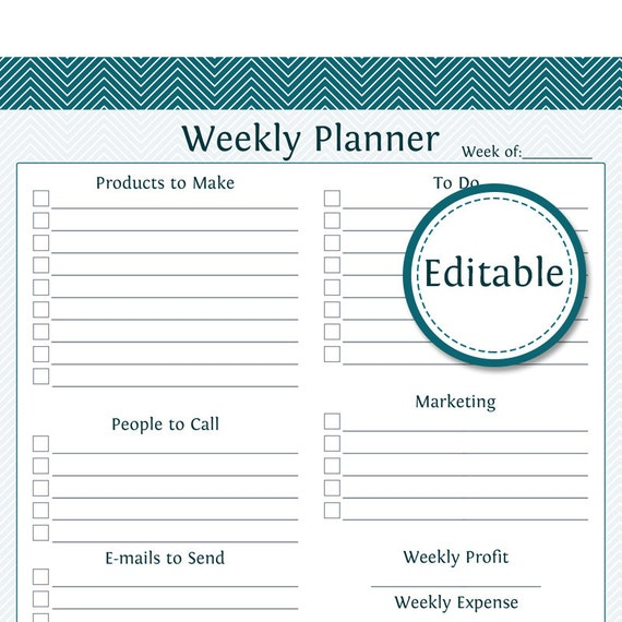 weekly business planner fillable business planner