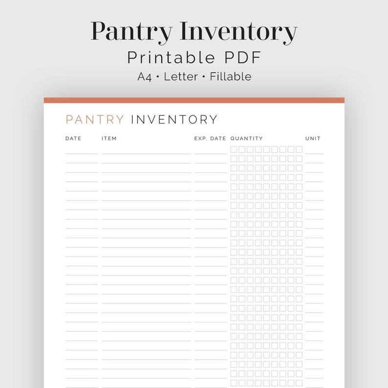 picture relating to Pantry Inventory Printable identified as Pantry Stock - Fillable - Printable PDF - Loved ones Command, Supper Planner - Quick Obtain
