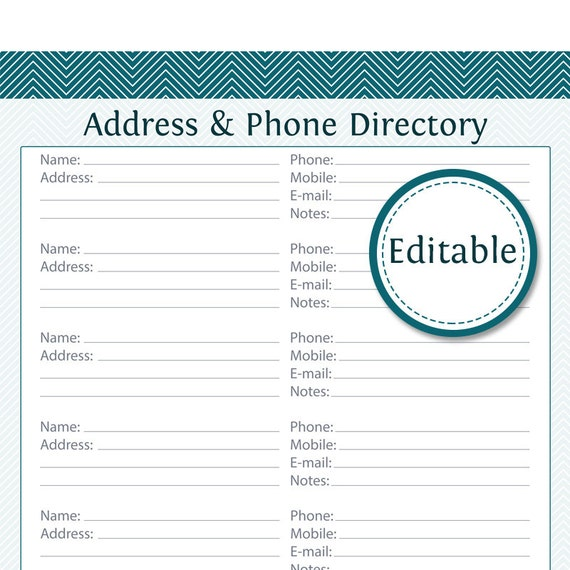 Canny image within printable phone book template