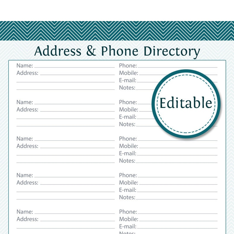 photo about Free Printable Phone List Template identified as Cover Cellular phone Listing - Fillable - Printable PDF - Fast Down load
