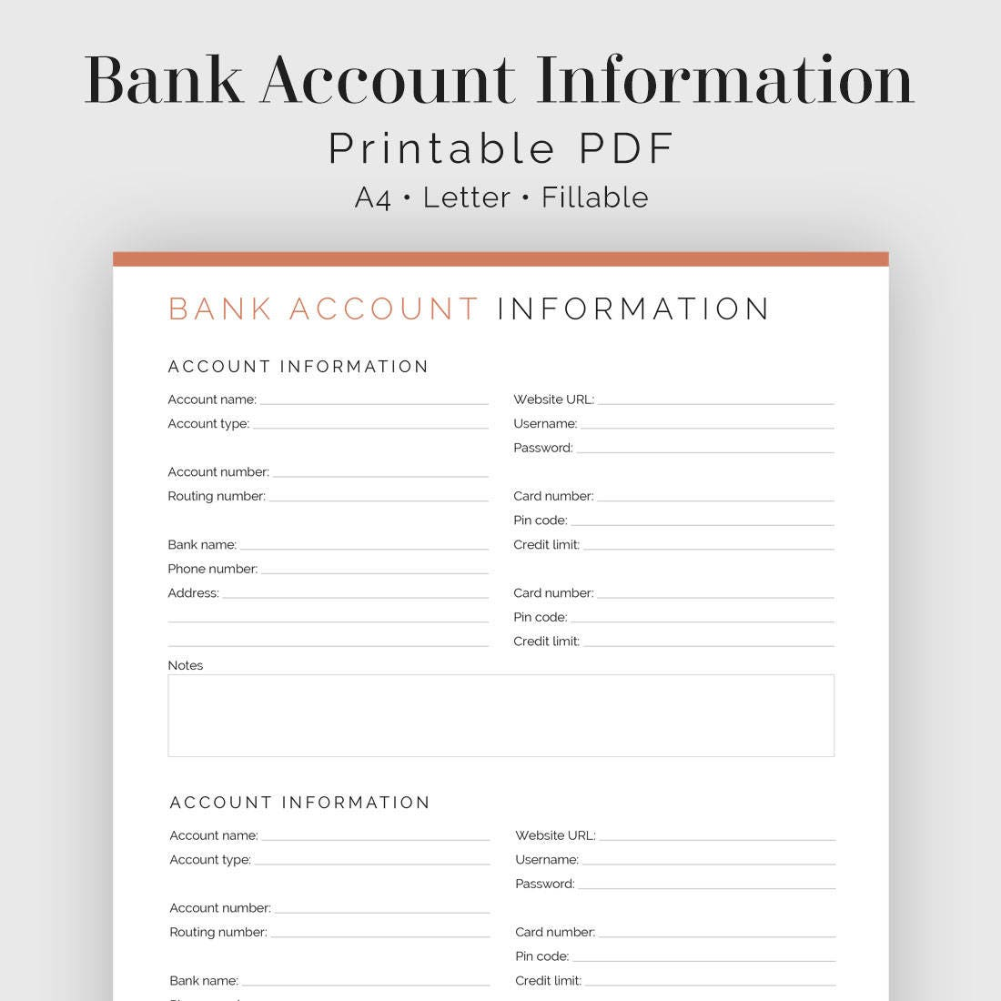 Bank Account Information Fillable Printable PDF Finance