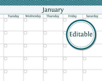 12 Month Calendar - Fillable - Printable PDF - Instant Download