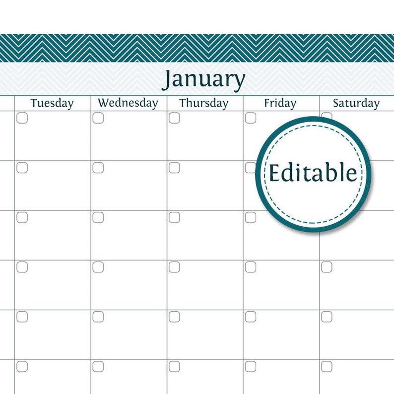 Calendario 12 Mesi.Calendario Da 12 Mesi Compilabile Pdf Stampabile Download Immediato