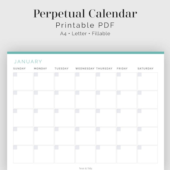 photo regarding Perpetual Calendar Pdf identified as Perpetual Calendar - Fillable - Printable PDF - Office environment Planner - Season Tracker - Residence Binder - Quick Obtain