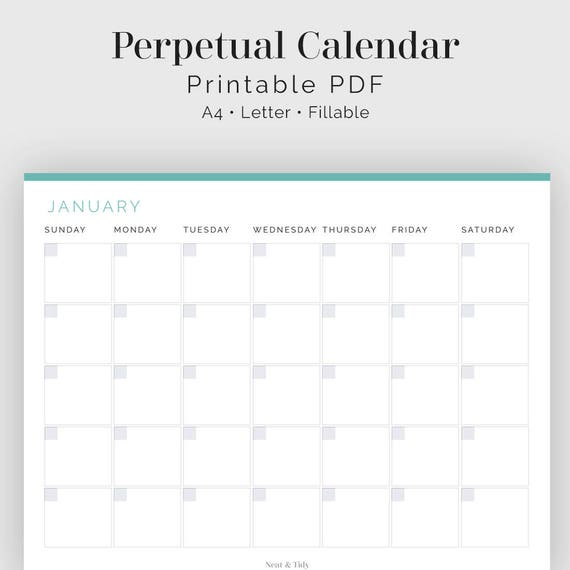 photo about Perpetual Calendar Printable titled Perpetual Calendar - Fillable - Printable PDF - Workplace Planner - Period Tracker - House Binder - Fast Obtain