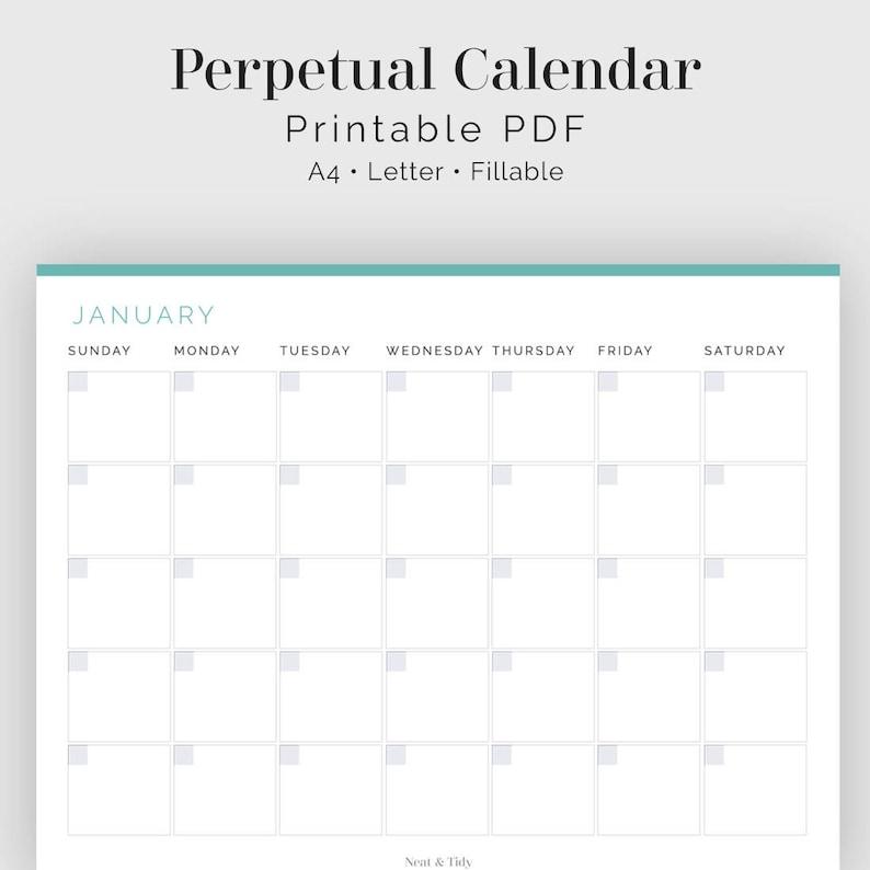 Calendario Perpetuo Semana Santa.Calendario Perpetuo Interactivos Imprimible Pdf Business Planner Tiempo Tracker Carpeta Del Hogar Descarga Inmediata