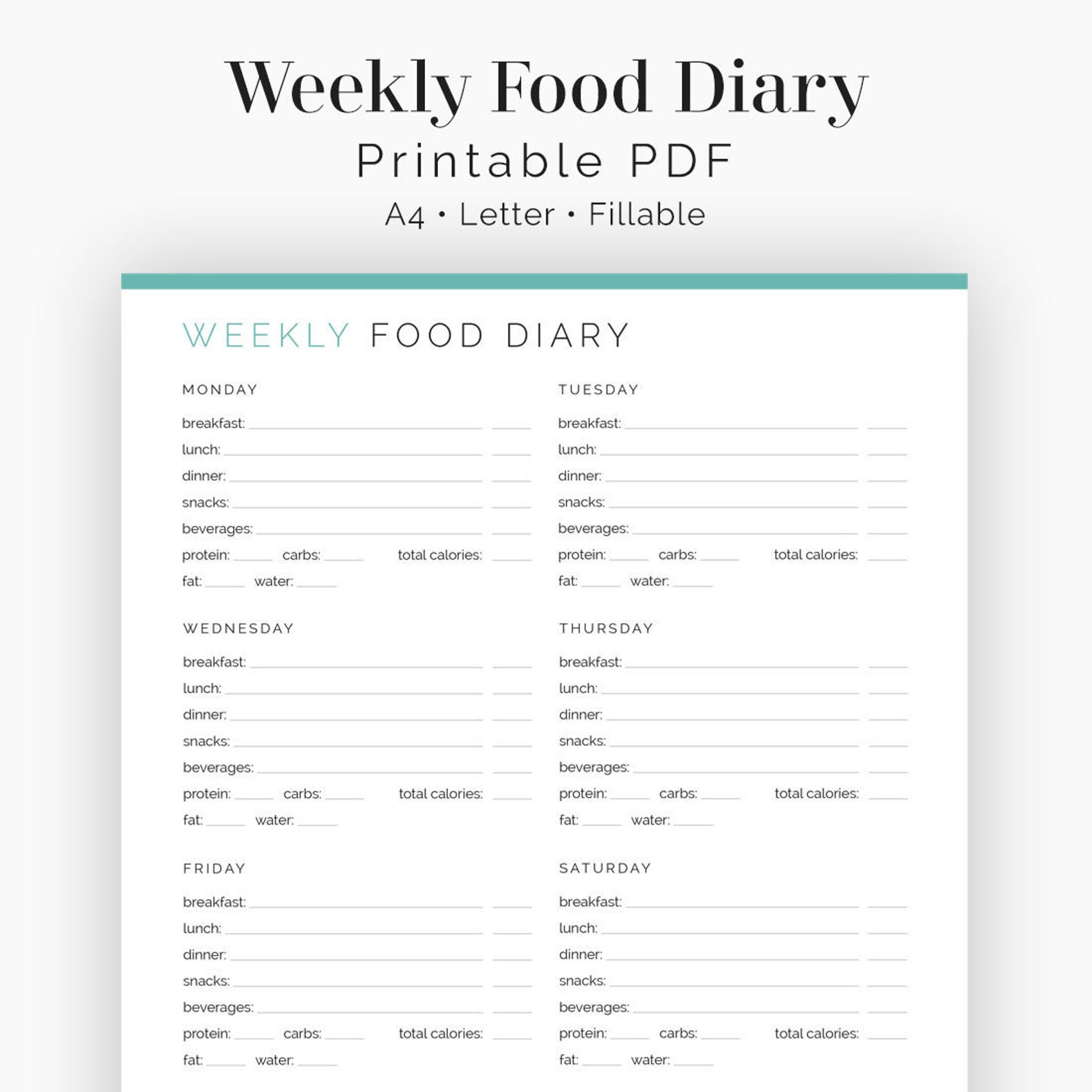 Weekly Food Diary - Fillable