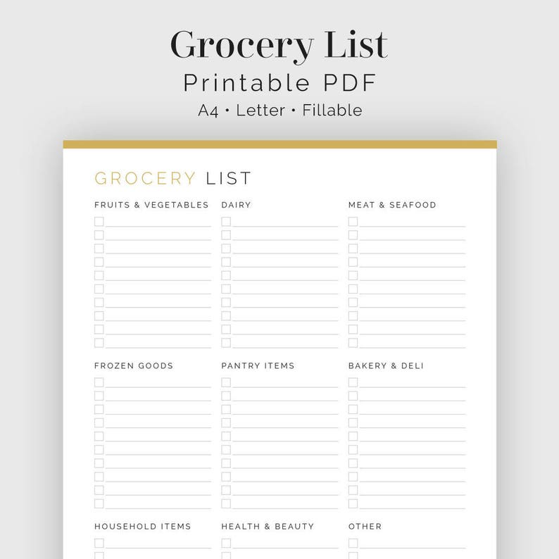 picture relating to Printable Grocery List by Category called Grocery Listing with Classes - Printable PDF - Supper Planner, Searching Checklist, Family Binder - Instantaneous Obtain