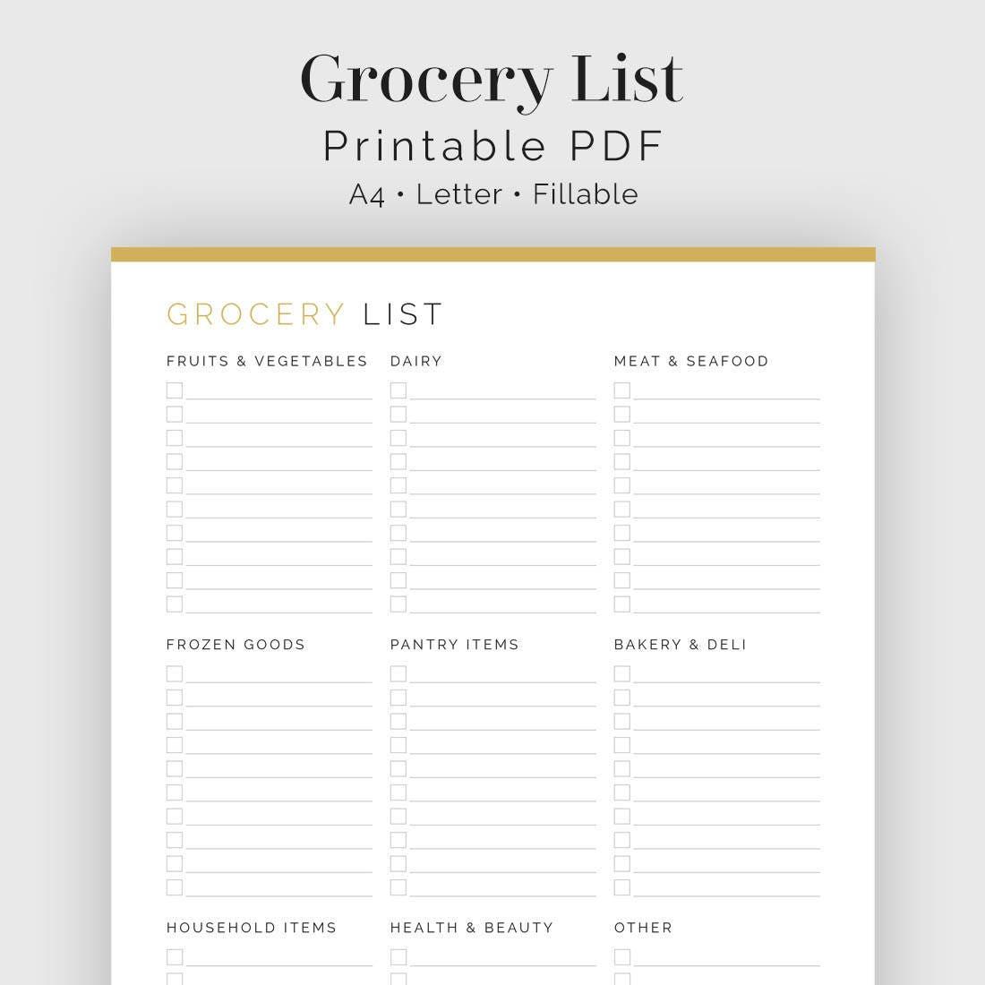 Einkaufsliste mit Kategorien druckbare PDF Essen Planer