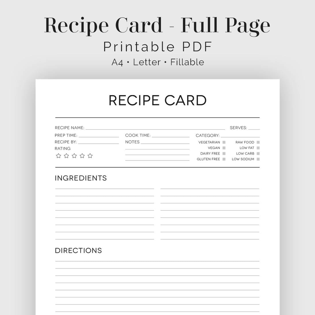 Recipe Card Full Page Black & White Fillable Printable