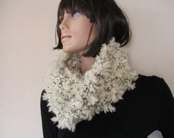 Scarf , unique handmade knitted scarf, wonem scarf, circular, chunky texture, fluffy.