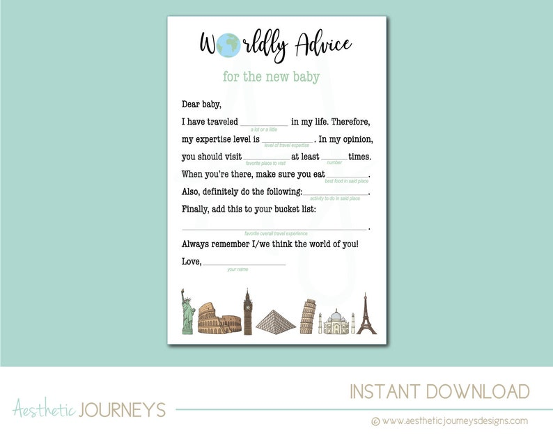 Worldly Advice Game for the New Baby at the Baby Shower Digital File