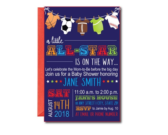 all star baby shower invitation with envelopes printed etsy