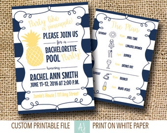 Bachelorette Party Invitation-Printable File- Pool Party Bridal Shower, Hen Party or Bachelorette Party- Customizaiton Included