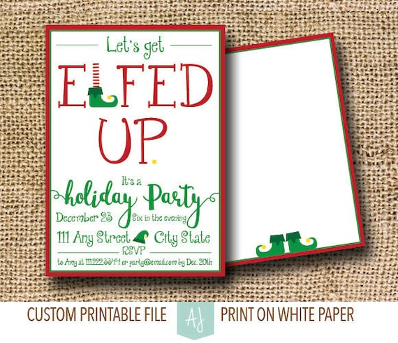 Funny Holiday Party Invite Set For Elf Themed White Etsy