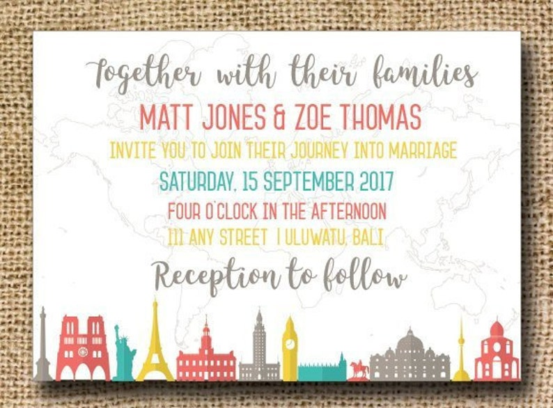 Travel Wedding Invitation Suite With Rsvps Details Cards And Etsy