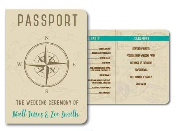 Passport Travel Wedding Program Template For Planning