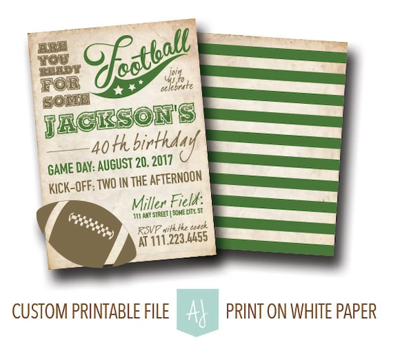 football themed birthday or party invite special birthday party