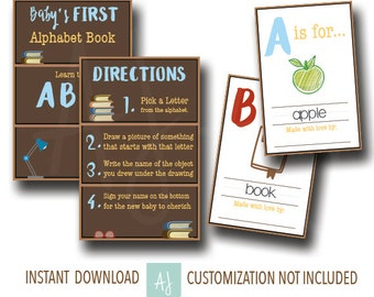 Book Themed Baby Shower Game- Baby's First Alphabet Book--Customization NOT Included- Instant Download