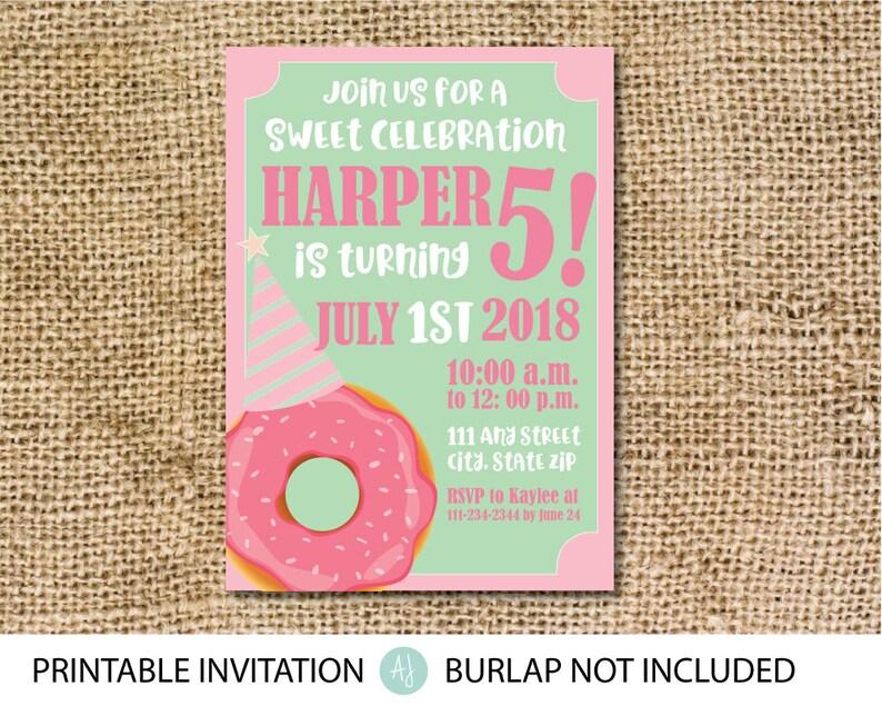 Vintage Donut Themed Birthday Invitation Party