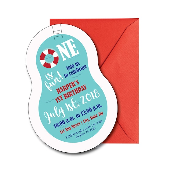 Pool Themed Party Invitation With Envelopes